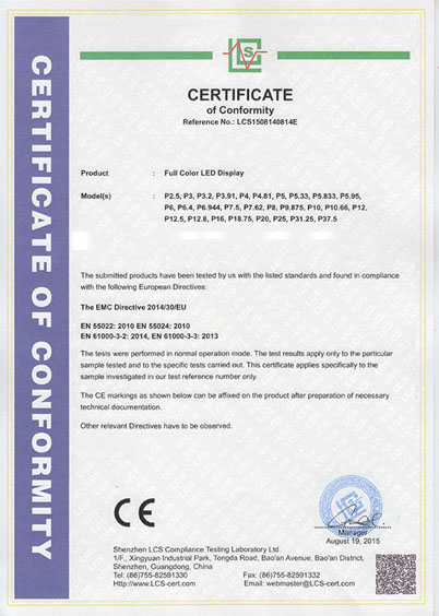 LED Signs Certificate